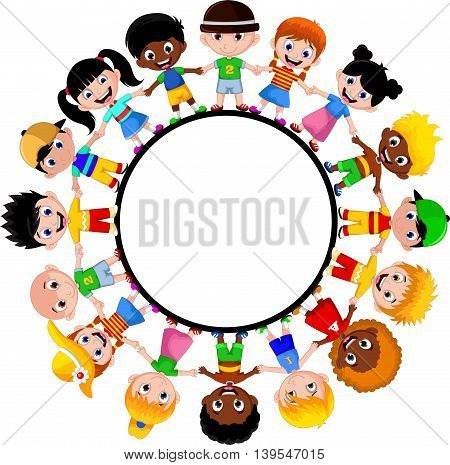 Circle of happy children of different races for your design