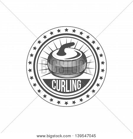 Curling game vintage badges set. Winter sports. Retro logo design. Old school sport logo. Monochrome badges.