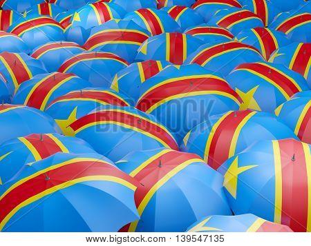 Umbrellas With Flag Of Democratic Republic Of The Congo