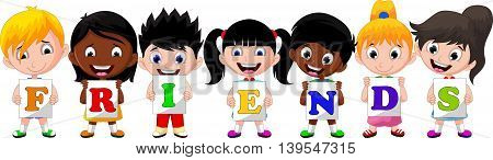 children cartoon holding paper with letters friends