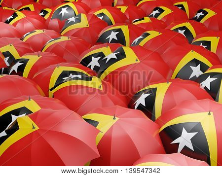 Umbrellas With Flag Of East Timor