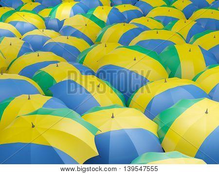 Umbrellas With Flag Of Gabon