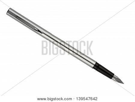 Silver color fountain pen isolated on white
