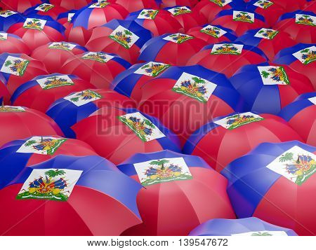 Umbrellas With Flag Of Haiti