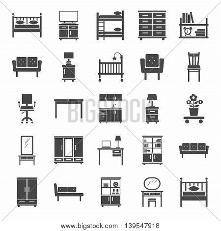 Furniture, icons, monochrome. Vector icons of modern furniture for home and office. A dark gray image on a white background.