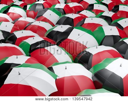 Umbrellas With Flag Of Kuwait