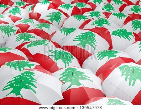 Umbrellas With Flag Of Lebanon