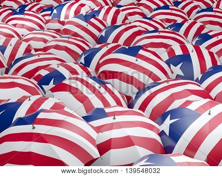 Umbrellas With Flag Of Liberia