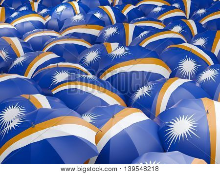 Umbrellas With Flag Of Marshall Islands