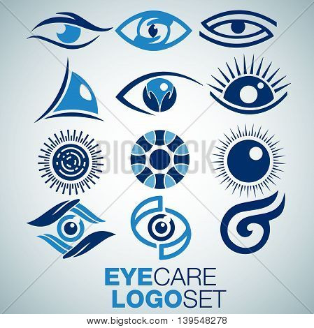 eye care set logo concept designed in a simple way so it can be use for multiple proposes like logo ,marks ,symbols or icons.