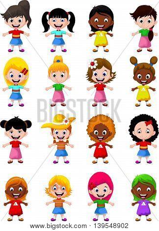 set character of happy girl kids cartoon