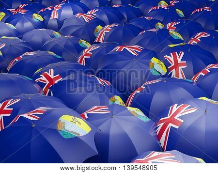Umbrellas With Flag Of Saint Helena