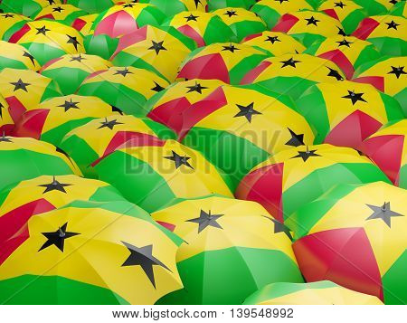 Umbrellas With Flag Of Sao Tome And Principe