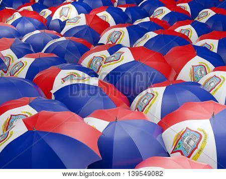 Umbrellas With Flag Of Sint Maarten