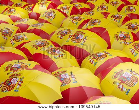 Umbrellas With Flag Of Spain