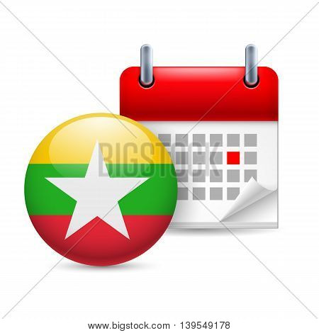 Calendar and round flag icon. National holiday in Myanmar
