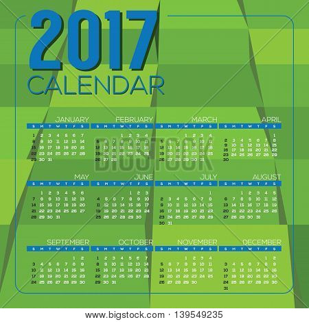 Modern Green Geometrics 2017 Printable Calendar Starts Sunday Vector Illustration. EPS 10