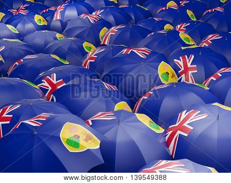 Umbrellas With Flag Of Turks And Caicos Islands