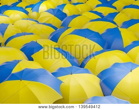Umbrellas With Flag Of Ukraine