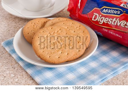 WREXHAM UNITED KINGDOM - JULY 22 2016: McVities Digestive biscuits the first ever digestive biscuit was produced in 1839 and 80 million packs are now sold annually in the UK