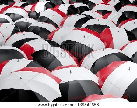 Umbrellas With Flag Of Yemen