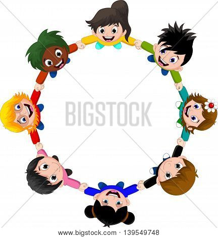 Circle of happy children of different races