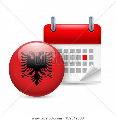 Calendar and round Albanian flag icon. National holiday in Albania
