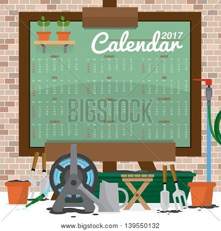 Modern Abstract 2017 Printable Calendar Starts Sunday Gardening Concept Vector Illustration. EPS 10