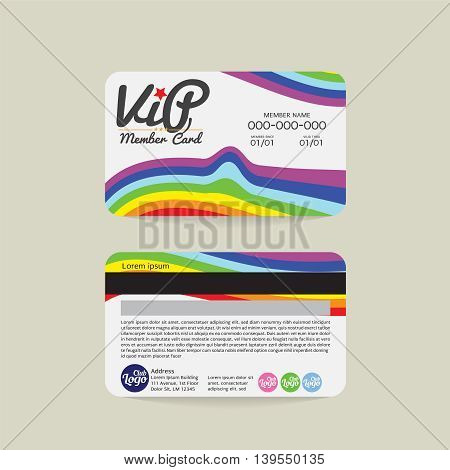 Front And Back Rainbow Stripes VIP Member Card Template Vector Illustration. EPS 10