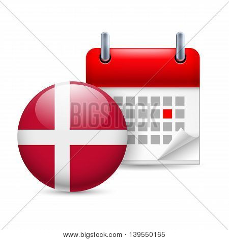 Calendar and round Danish flag icon. National holiday in Denmark