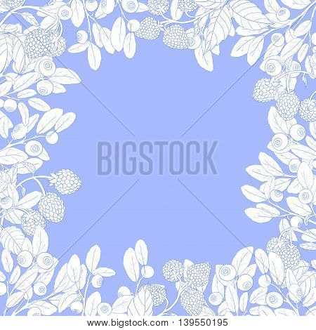 Natural frame of branches of raspberry and blueberry with berries on a blue background. Sprigs drawn by hand in blue outline and painted white. Vector illustration