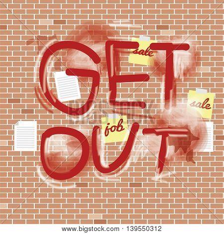 Inscription Spray On Brick Wall Vector Illustration. EPS 10