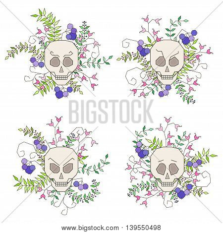 Set of isolated skulls surrounded by flowers and twigs with leaves in geometric style. Vector illustration
