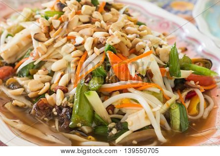 som tam thai green papaya salad Thai cuisine spicy delicious