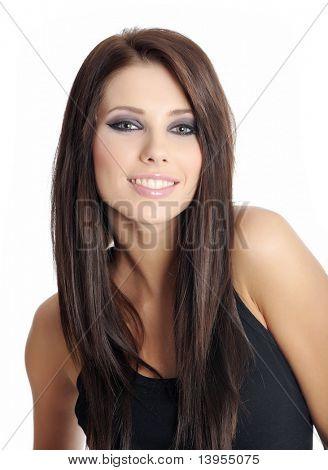 Beautiful woman portrait. black style