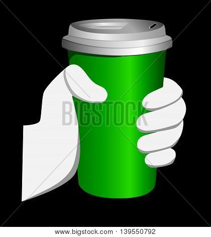 Green Paper Cup . logo coffee with him . Vector Illustration