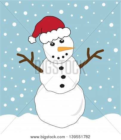 Merry Christmas Happy Holidays Snowman with Santa Hat