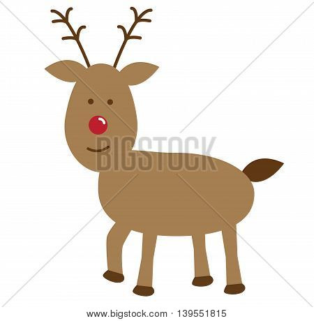 Merry Christmas Happy Holidays Reindeer with Red Nose
