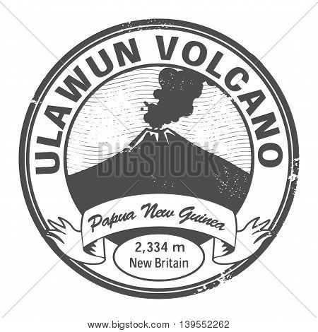 Stamp with words Ulawun Volcano, Papua New Guinea, vector illustration