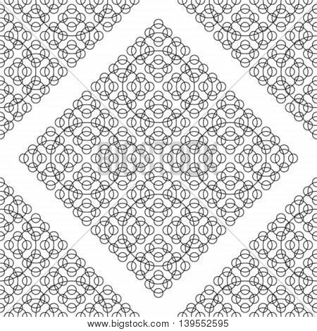 Black White Seamless Round Pattern. Geometric Circle Background