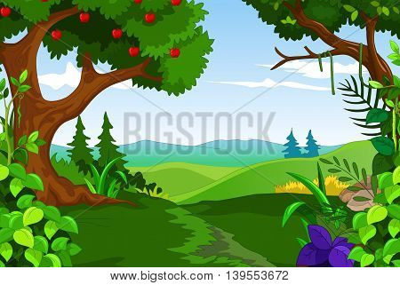 beauty landscape with apple tree and green forest background