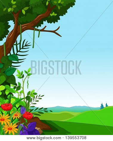 green forest with landscape background for you design