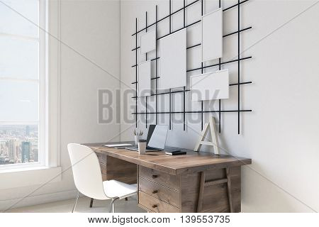 Tabel with high tech equipment in brightly lit room. Posters on wall. Large window. 3D render. Mock up
