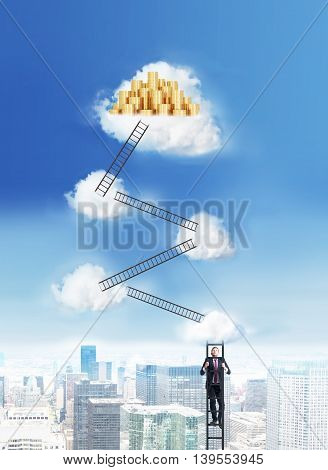 Success and financial growth concept with businessman climbing ladders to the cloud top with golden coin stacks on New York city background