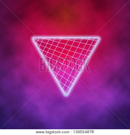 Illustration of Neon Style Triangle Techno Background. Outer Space Poster Illustration. Retro Disco 80s Background