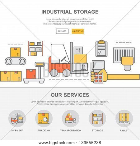 Web design template with thin line icons of warehouse stock and industrial storage. Flat design graphic image concept website elements layout.