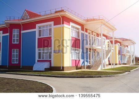 Kindergarten school Playground. The new educational institution.
