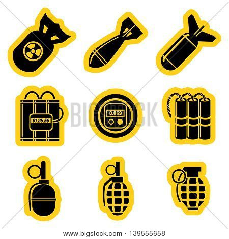 Military stikers set vector with timers dynamit hand grenades and nuclear rocket isolated on white