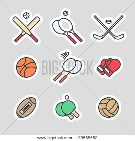 Colorful sport games stickers vector line icons collection