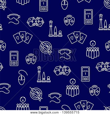 Seamless pattern with outline game accessories. Vector illustration